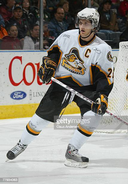 Cory Emmerton of the Kingston Frontenacs skates in a game against the London Knights on November 11, 2007 at the John Labatt Centre in London,...