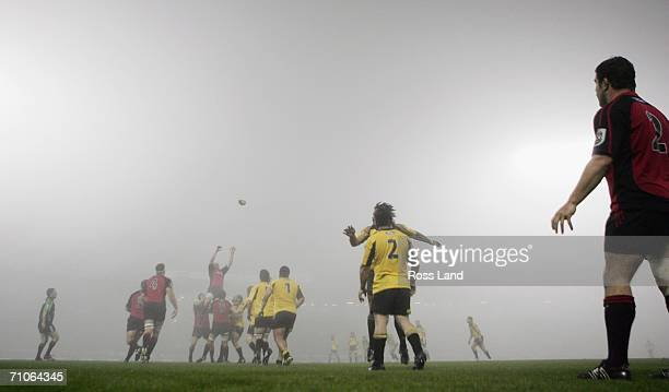 Cory Flynn of the Crusaders throws into the lineout ball in foggy conditions during the Super 14 final match between the Crusaders and the Hurricanes...