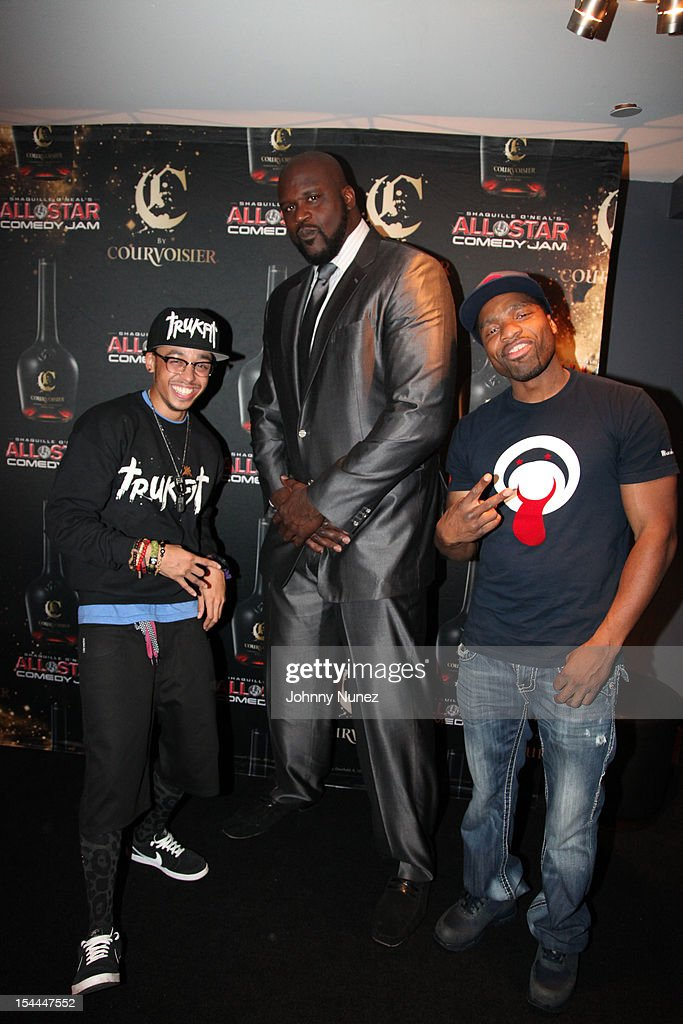 Cory Gunz, Shaquille O'Neal and Loaded Lux attend Shaquille O'Neal's All Star Comedy Jam at the Best Buy Theater on October 19, 2012 in New York City.
