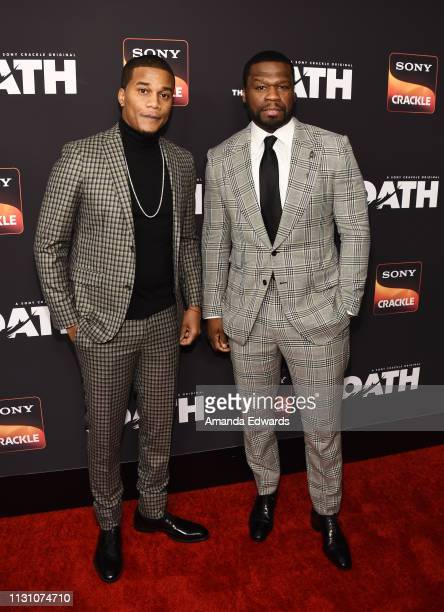 Cory Hardrict and Curtis '50 Cent' Jackson arrive at Sony Crackle's 'The Oath' Season 2 exclusive screening event at Paloma on February 20 2019 in...