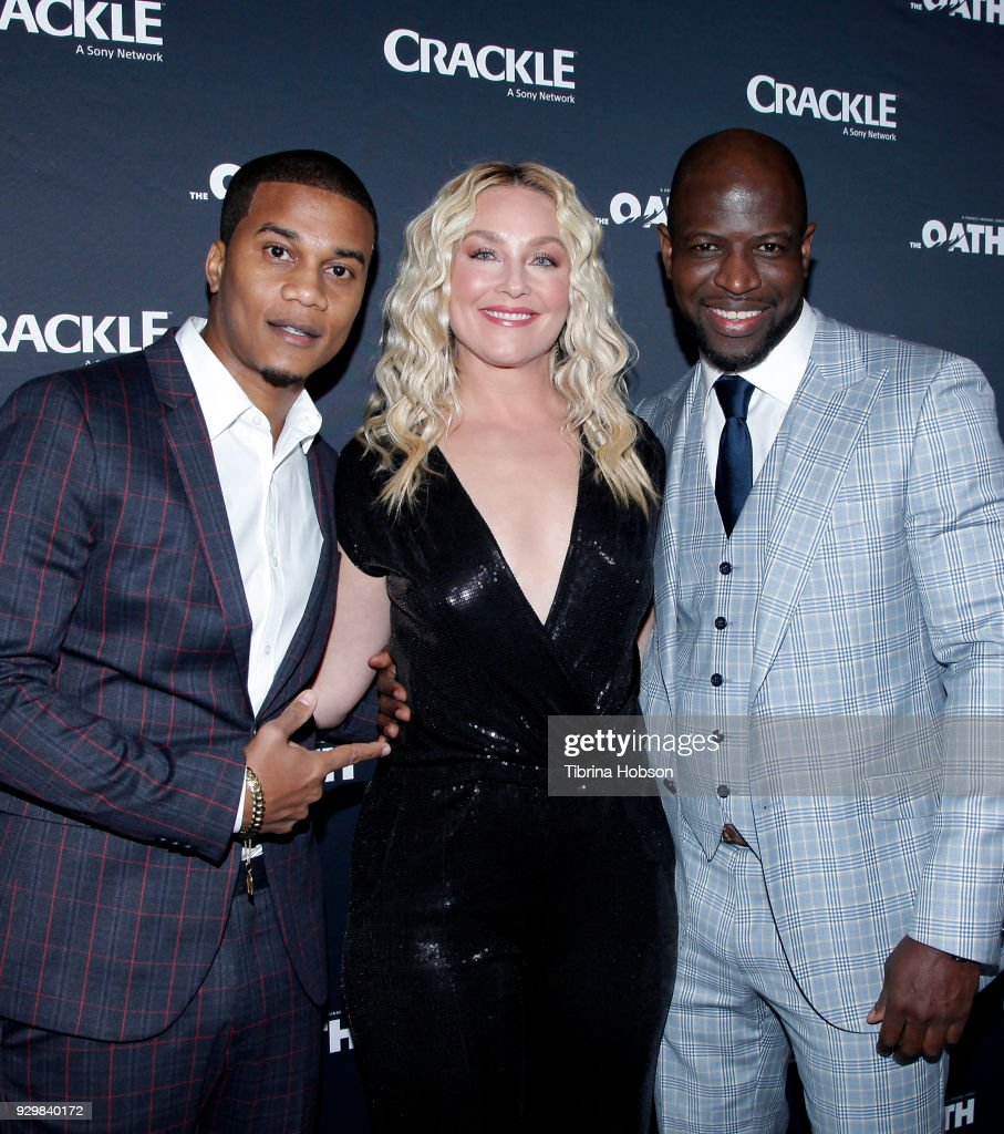 Cory Hardrict, Elisabeth Rohm and Kwame Patterson attend the premiere of Crackle's 'The Oath' at Sony Pictures Studios on March 7, 2018 in Culver City, California.
