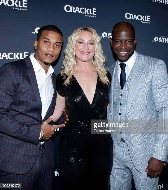 Cory Hardrict Elisabeth Rohm and Kwame Patterson attend the premiere of Crackle's 'The Oath' at Sony Pictures Studios on March 7 2018 in Culver City...