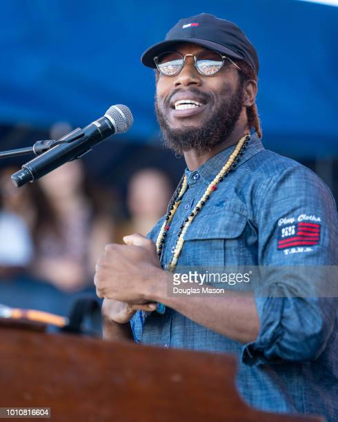 Cory Henry and the Funk Apostles perform at the Newport Jazz Festival 2018 at Fort Adams State Park on August 3 2018 in Newport Rhode Island