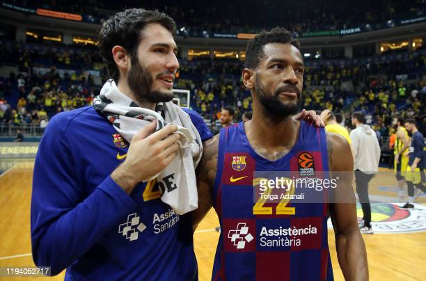 Cory Higgins, #22 and Alex Abrines, #21 of FC Barcelona during the Turkish Airlines EuroLeague match between Fenerbahce Beko Istanbul and FC...