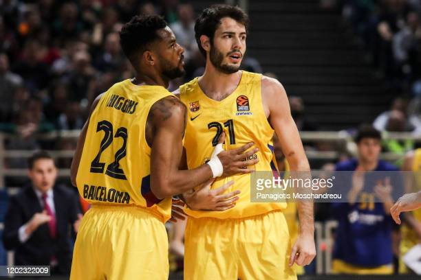 Cory Higgins, #22 and Alex Abrines, #21 of FC Barcelona react during the 2019/2020 Turkish Airlines EuroLeague Regular Season Round 25 match between...