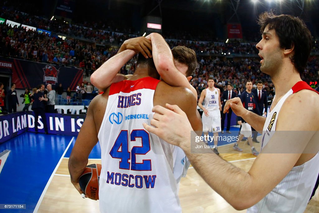 Cory Higgins, #22 of CSKA Moscow celebrates during the 2016/2017 Turkish Airlines EuroLeague Playoffs leg 3 game between Baskonia Vitoria Gasteiz v CSKA Moscow at Fernando Buesa Arena on April 25, 2017 in Vitoria-Gasteiz, Spain.