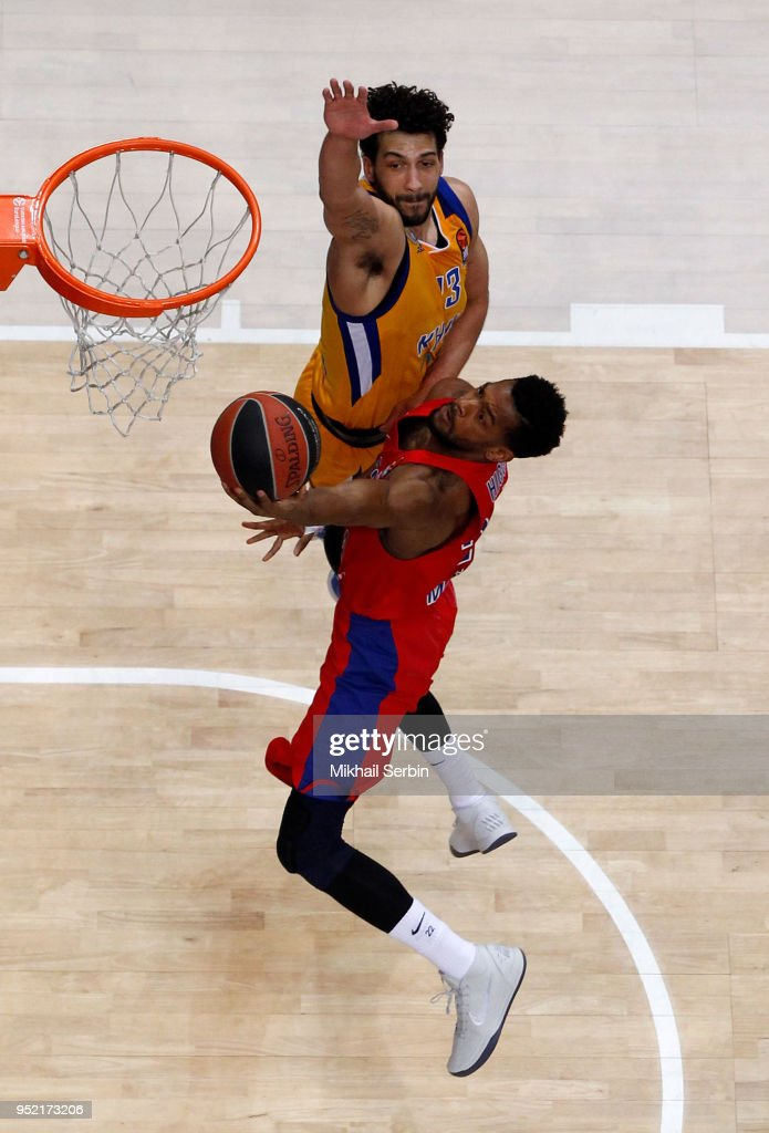 Cory Higgins, #22 of CSKA Moscow competes with Anthony Gill, #13 of Khimki Moscow Region in action during the Turkish Airlines Euroleague Play Offs Game 4 between Khimki Moscow Region v CSKA Moscow at Arena Mytishchi on April 27, 2018 in Moscow, Russia.