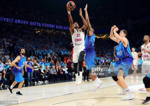 Cory Higgins #22 of CSKA Moscow competes with James Anderson #23 of Anadolu Efes Istanbul during the 2018/2019 Turkish Airlines EuroLeague Regular...