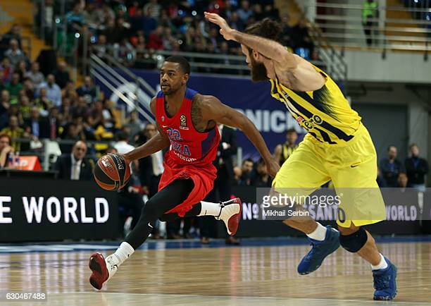 Cory Higgins #22 of CSKA Moscow competes with Luigi Datome #70 of Fenerbahce Istanbul in action during the 2016/2017 Turkish Airlines EuroLeague...