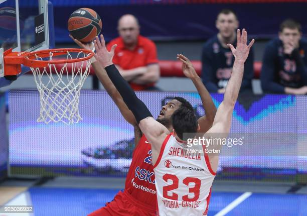 Cory Higgins #22 of CSKA Moscow competes with Tornike Shengelia #23 of Baskonia Vitoria Gasteiz in action during the 2017/2018 Turkish Airlines...