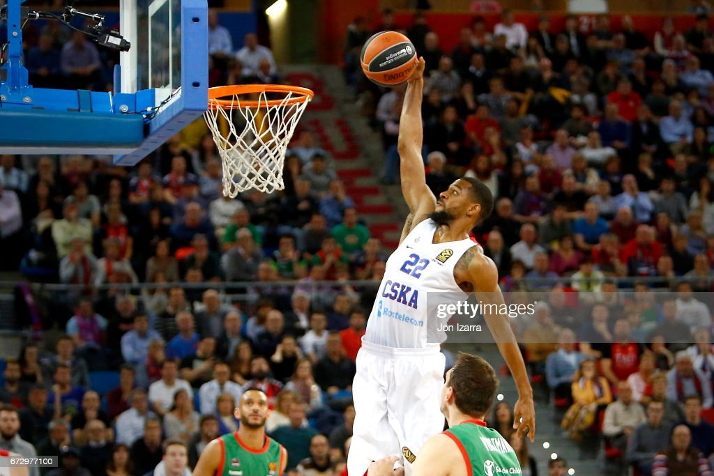 Cory Higgins, #22 of CSKA Moscow in action during the 2016/2017 Turkish Airlines EuroLeague Playoffs leg 3 game between Baskonia Vitoria Gasteiz v CSKA Moscow at Fernando Buesa Arena on April 25, 2017 in Vitoria-Gasteiz, Spain.