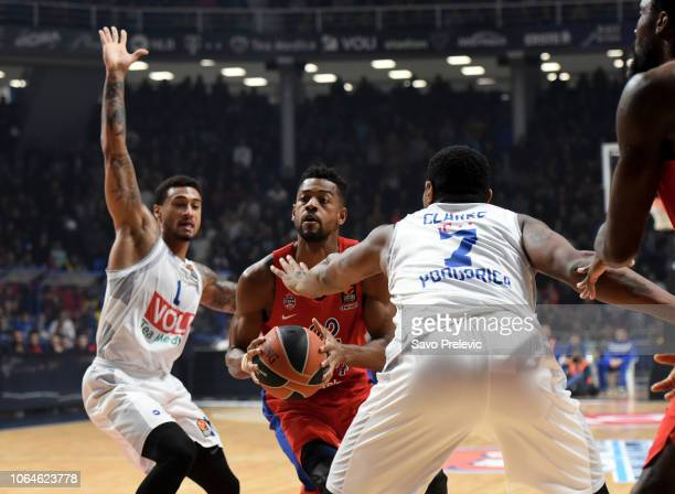 Cory Higgins #22 of CSKA Moscow in action during the 2018/2019 Turkish Airlines EuroLeague Regular Season Round 9 game between Buducnost Voli...