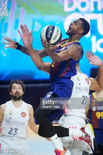 Cory Higgins of Barsa during Finals King's Cup match between Real Madrid and Barsa at Wizink Center on February 14, 2021 in Madrid, Spain.