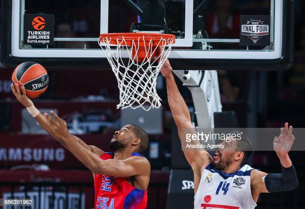 Cory Higgins of CSKA Moscow in action against Gustavo Ayon of Real Madrid during the Turkish Airlines Euroleague Final Four basketball consolation...
