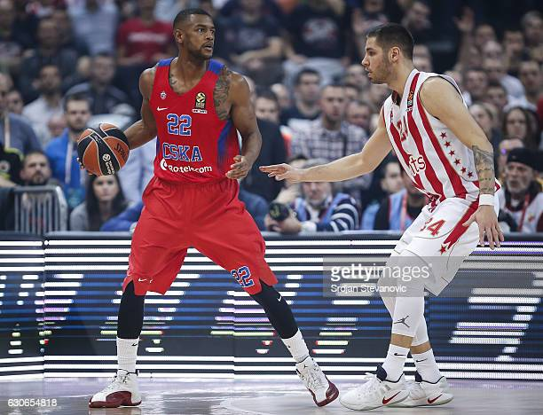Cory Higgins of CSKA Moscow in action against Stefan Jovic of Crvena Zvezda during the 2016/2017 Turkish Airlines Euroleague Regular Season Round 15...