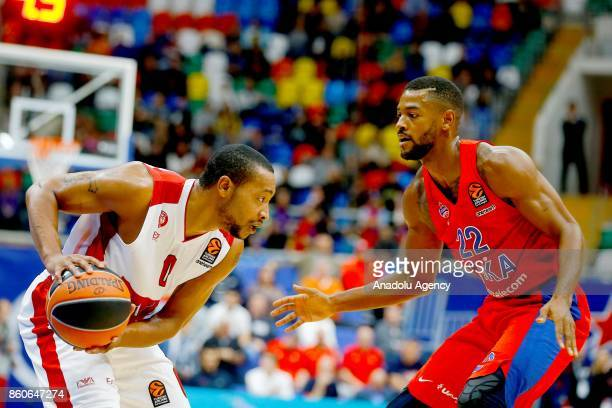 Cory Higgins of CSKA Moscow vies with Andrew Goudelock of AX Olimpia Milan during the Turkish Airlines Euroleague match between CSKA Moscow and AX...