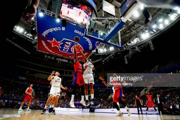Cory Higgins of CSKA Moscow vies with Gustavo Ayon of Real Madrid during the Turkish Airlines Euroleague match between CSKA Moscow and Real Madrid at...