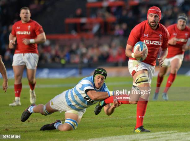 Cory Hill from Wales is tackled by Matias Alemanno from Argentina during the International Test Match between Argentina and Wales at the Brigadier...