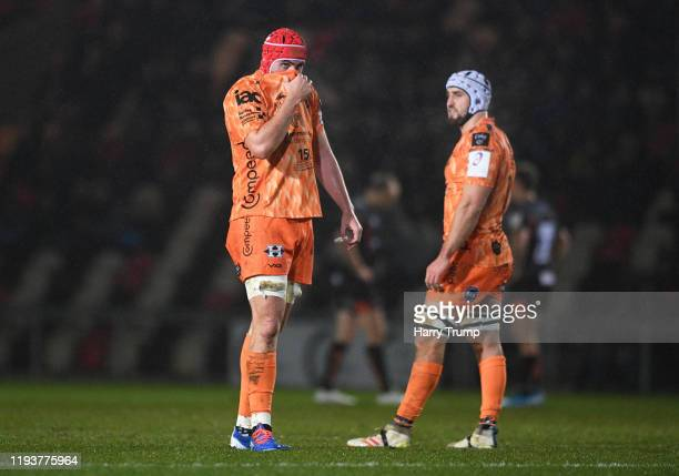 Cory Hill of Dragons looks on during the European Rugby Challenge Cup Round 4 match between Dragons Rugby and Worcester Warriors at Rodney Parade on...