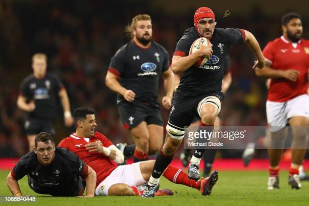 Cory Hill of Wales makes a break to score a try during the International Friendly match between Wales and Tonga on November 17 2018 in Cardiff United...