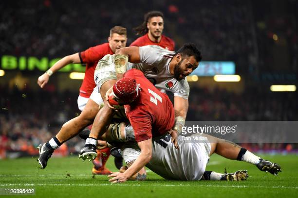 Cory Hill of Wales scores his team's first try during the Guinness Six Nations match between Wales and England at Principality Stadium on February 23...