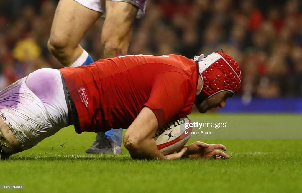 Cory Hill of Wales scores their third try during the NatWest Six Nations match between Wales and Italy at Principality Stadium on March 11, 2018 in Cardiff, Wales.