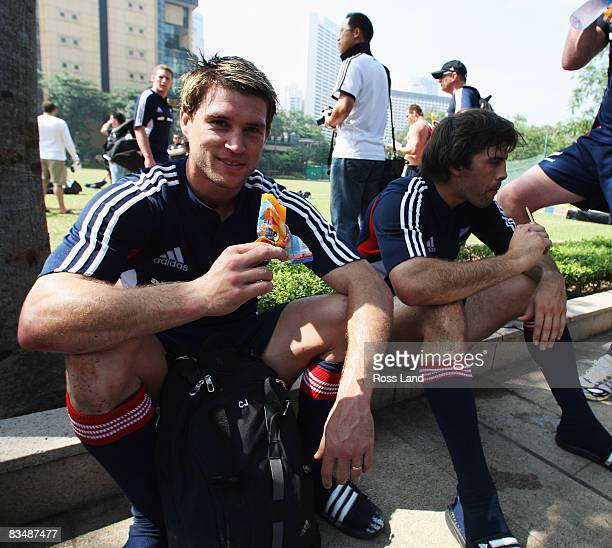 Cory Jane and Conrad Smith of the All Blacks cool off following an All Blacks training session held at Victoria Park October 30 2008 in Hong Kong...