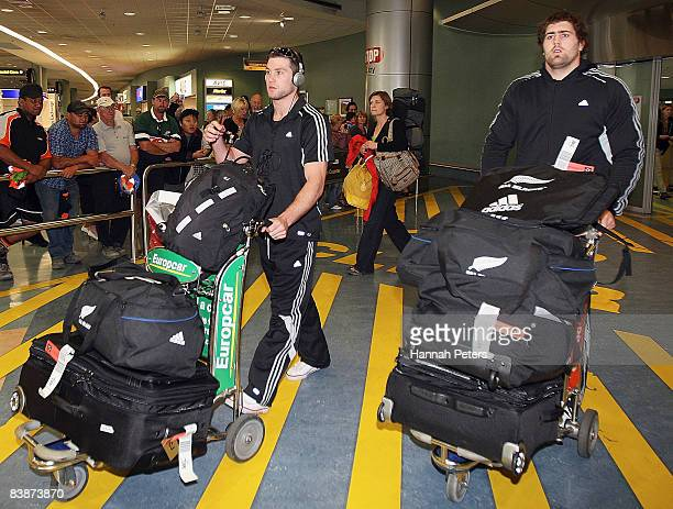 Cory Jane and Jamie Mackintosh of the All Blacks arrive at Auckland airport on December 2 2008 in Auckland New Zealand