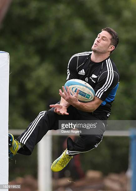 Cory Jane catches the ball during the New Zealand All Blacks captain's run at Centro Naval on September 28 2012 in Buenos Aires Argentina