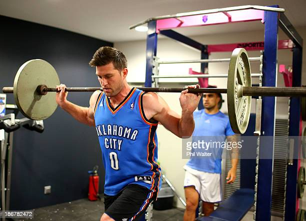 Cory Jane of the All Blacks lifts weights during a New Zealand All Blacks gym session at the Stade Jean Bouin on November 4 2013 in Paris France
