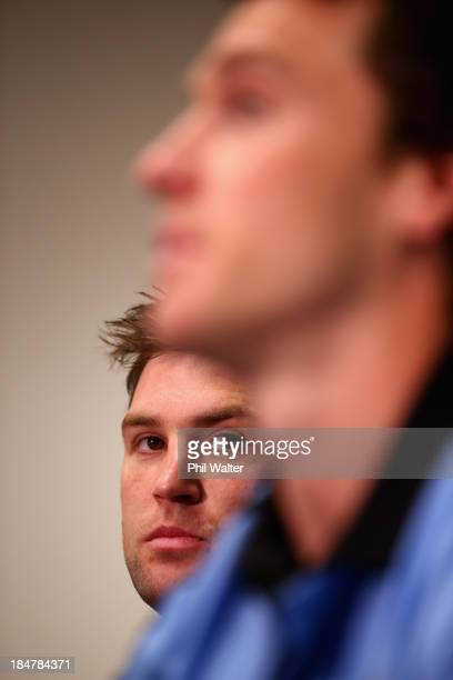 Cory Jane of the All Blacks looks on as Ben Smith speaks during the New Zealand All Blacks media session at the Southern Cross Hotel on October 17...