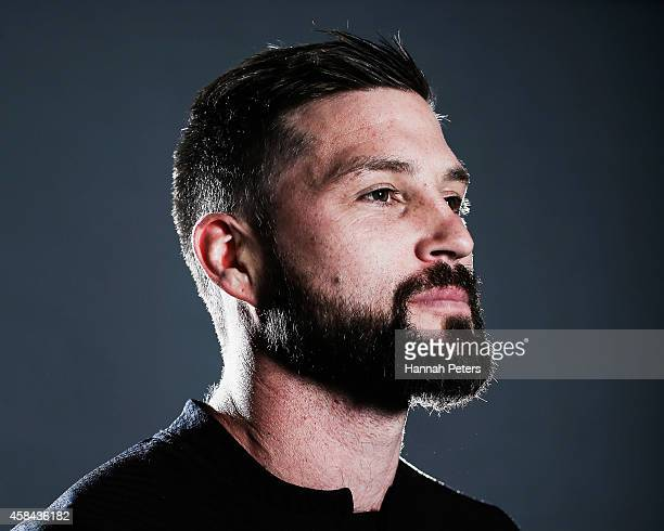Cory Jane of the All Blacks poses during a New Zealand All Blacks portrait session on October 26 2014 in Auckland New Zealand