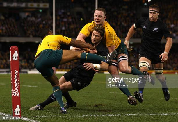 Cory Jane of the All Blacks scores a try during the 2010 TriNations Bledisloe Cup match between the Australian Wallabies and the New Zealand All...