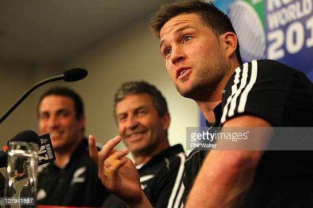 Cory Jane of the All Blacks speaks alongside Wayne Smith and Richard Kahui during a New Zealand IRB Rugby World Cup 2011 Media Session at the Spencer...