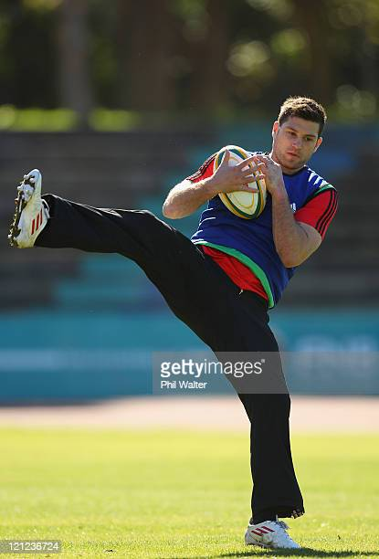 Cory Jane of the All Blacks takes a catch during the New Zealand All Blacks Training Session at Xerox Arena on August 16, 2011 in Port Elizabeth,...