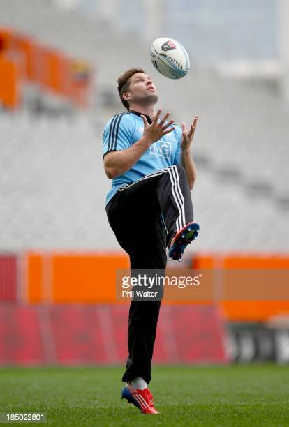 Cory Jane of the All Blacks warms up during a New Zealand All Blacks training session at the Forsyth Barr Stadium on October 17 2013 in Dunedin New...