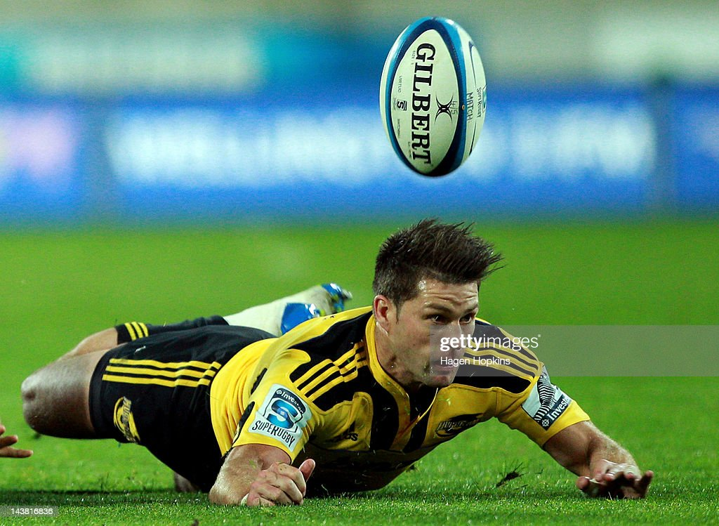 Cory Jane of the Hurricanes fails to gather a loose ball during the round 11 Super Rugby match between the Hurricanes and the Blues at Westpac Stadium on May 4, 2012 in Wellington, New Zealand.