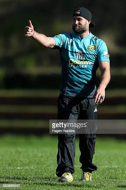 Cory Jane takes part in a Hurricanes training session at Rugby League Park on May 12 2016 in Wellington New Zealand