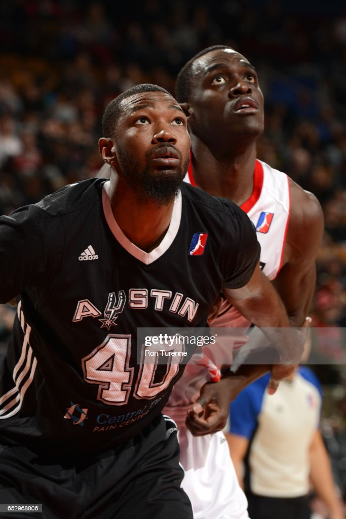 Cory Jefferson #40 of the Austin Spurs fights for the rebound with Pascal Siakam #43 of the Raptors 905 during the game at the Air Canada Centre on March 13, 2017 in Toronto, Ontario, Canada.