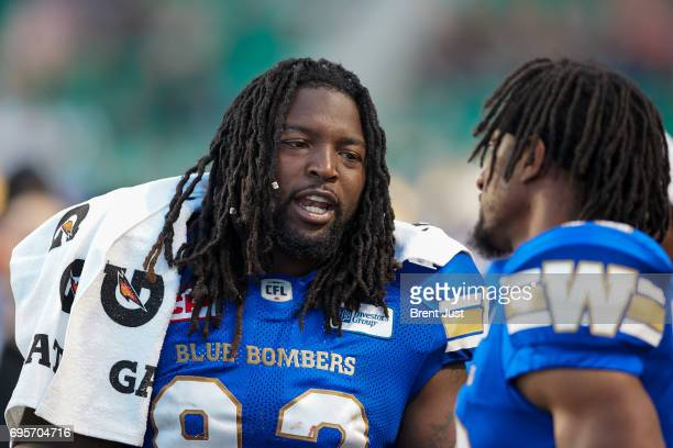 Cory Johnson of the Winnipeg Blue Bombers on the sideline during the preseason game between the Winnipeg Blue Bombers and Saskatchewan Roughriders at...