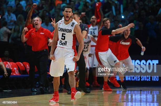 Cory Joseph of Canada celebrates during a third place match between Canada and Mexico as part of the 2015 FIBA Americas Championship for Men at...