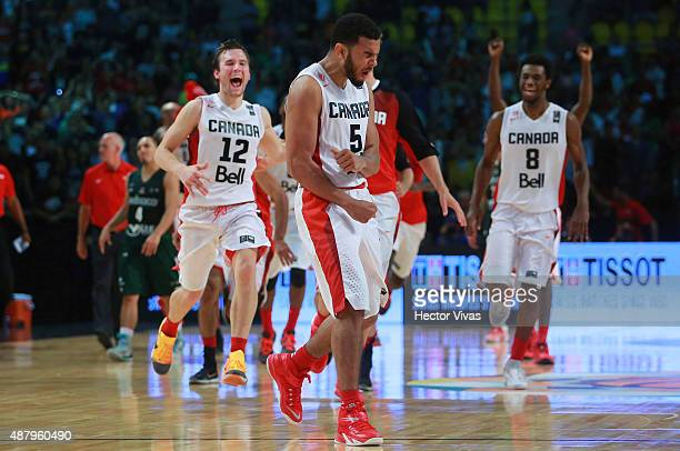 Cory Joseph of Canada celebrates with teammates during a third place match between Canada and Mexico as part of the 2015 FIBA Americas Championship...