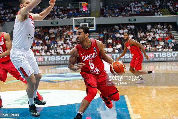 Cory Joseph of Canada is seen in action during the 2016 FIBA World Olympic Qualifying basketball Group A match between Canada and Turkey at Mall of...