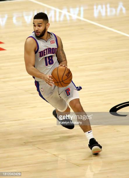 Cory Joseph of the Detroit Pistons handles the ball against against the Los Angeles Clippers during the third quarter at Staples Center on April 11,...