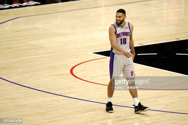 Cory Joseph of the Detroit Pistons looks on during the third quarter against the Los Angeles Clippers at Staples Center on April 11, 2021 in Los...