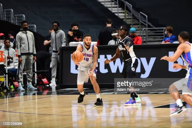 Cory Joseph of the Detroit Pistons passes the ball against the LA Clippers on April 11, 2021 at STAPLES Center in Los Angeles, California. NOTE TO...