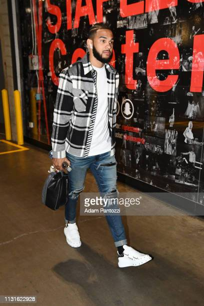 Cory Joseph of the Indiana Pacers arrives for the game against the LA Clippers on March 19 2019 at STAPLES Center in Los Angeles California NOTE TO...