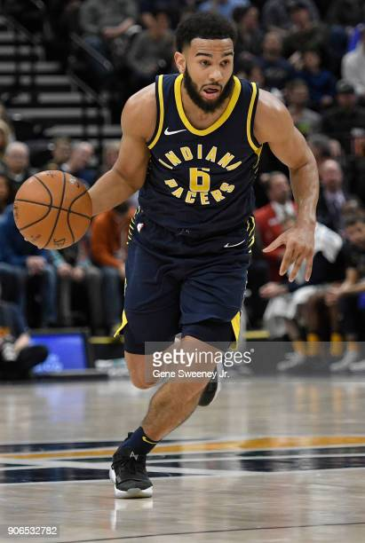 Cory Joseph of the Indiana Pacers brings the ball up court during a game against the Utah Jazz at Vivint Smart Home Arena on January 15 2018 in Salt...