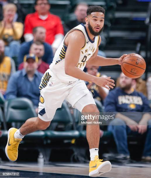 Cory Joseph of the Indiana Pacers brings the ball up court during the game against the Utah Jazz at Bankers Life Fieldhouse on March 7 2018 in...