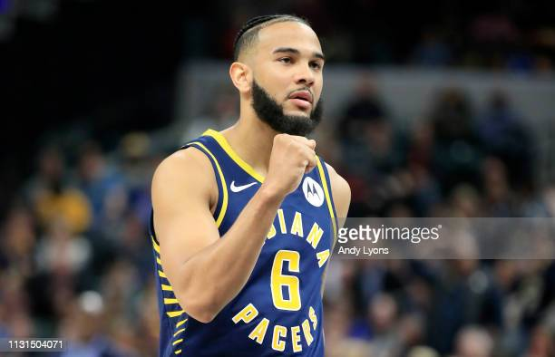 Cory Joseph of the Indiana Pacers celebrates in the game against the New Orleans Pelicans at Bankers Life Fieldhouse on February 22 2019 in...